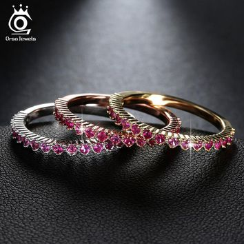 ORSA JEWELS Luxury Ring Set in 3 Colors 17 Pieces Micro Paved Red Cubic Zirconia 3 Pieces Ring Per Set OR104