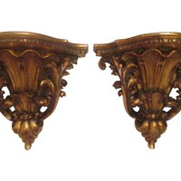 Ornate Wall Shelves, Pair