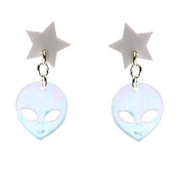 Star/Alien Dangle Earrings in White and Iridescent Hologram
