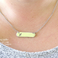 Canoe Necklace, Canoe Jewelry, Canoe Pendant, Canoeing Gifts, Silver Bar Necklace, Name Necklace, Custom Necklace, Personalized