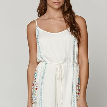 LA Hearts Embroidered Romper - Womens Dress - White