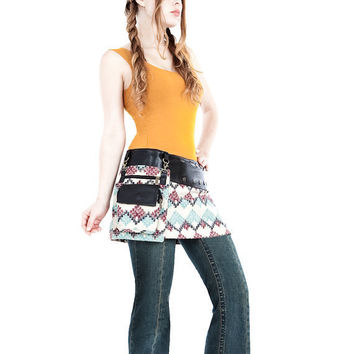 Mini skirt black leather with aztec pattern by Shovavaleather