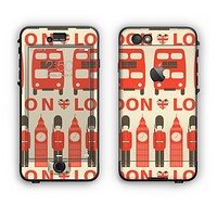 The Vector Tan and Red London Apple iPhone 6 Plus LifeProof Nuud Case Skin Set