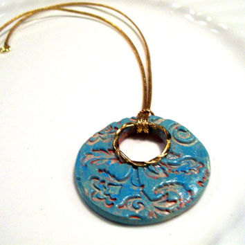 Personal Diffusesr Pendant in Turquoise and Gold with Floral Design and Gold Cord Necklace Essential Oil Diffuser Necklace Gift Idea for Her