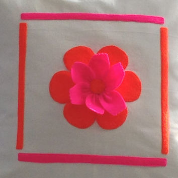 White Pillow Cover/ White Cushion Cover with Neon orange and pink 3D flower at the center. Decorative Pillow, Bedroom Pillow Cover, Pillow