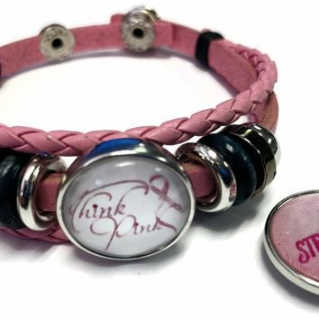 Think Pink Breast Cancer Awareness Snaps On Pink Leather Bracelet W/2 Snap Jewelry Charms New Item