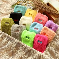 Fashion love candy color dot Thick warm bow tie Female autumn winter Wool funny socks women cotton ladies 3d ankle sock