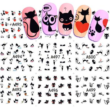 12 Designs Water Transfer Nail Art Sticker And Decal Summer Designs Cartoon Cat Set Cute Slider Tattoos Manicure SAA493-504