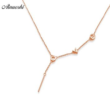 AINUOSHI 18K Rose Gold Love Letters Necklace Pendant Luxury Women Anniversary Engagement Necklace Pendant Jewelry