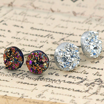 Autumn Pink, Gold and Silver Faux Druzy Stud Earrings. Two Pair Set of Resin Druzy Glitter Posts. Bohemian.