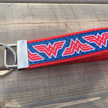 Key Fob Wristlet, Fabric Key Fob, Fabric Keychain,Metallic Key Fob,Key Holder, Key Chain, Key Holder, Wonderwoman Keychain, Wonderwoman