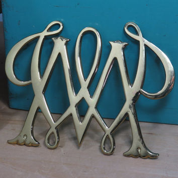 William and Mary Trivet • Solid Brass • Royal Monogram • Williamsburg Virginia • Vintage • College Cypher
