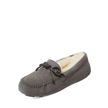 Atwell Women's Ainsley Suede & Sheep Fur Moccasin - Grey -