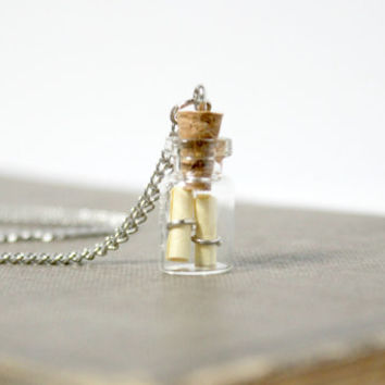 Simple Message in a Bottle Pendant - Corked Glass Bottle Necklace - Shabby Cottage Chic Romantic Handmade Jewelry - Ready to Ship