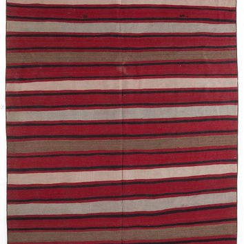 Handmade  Unique Striped Over Dyed Kilim Rug 5'11'' x 10'11'' ft 180 x 334 cm  (Free Shipping)