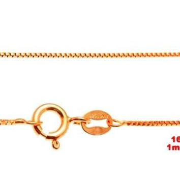 """1 mm box chain -16 """"-Italian 14k yellow gold layered over .925 sterling silver"""