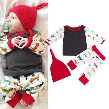 Baby Christmas Clothing Set Baby Boys Girls Long Sleeve Reindeer Print Top T-shirt + Pants + Hat Outfits
