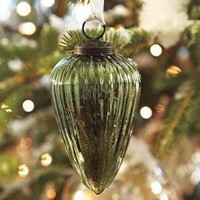 Green Fluted Mercury Drop Ornament
