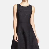 Women's Vera Wang Embossed Scuba Fit & Flare Dress