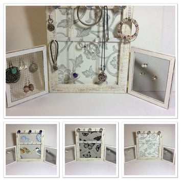 Jewelry organizer frame, rustic timber jewelry and earring display, jewelry stand, vintage inspired frame, romantic style jewelry storage