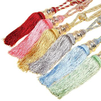 1 Pair Colorful Window Cotton Rope House Tassel Crystal Bead Window Tieback Curtains Decor