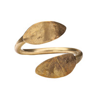 Raven + Lily Brass Leaf Wrap Ring
