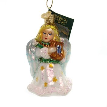 Old World Christmas ANGEL WITH LYRE Glass Ornament Purity Peace 10157 White