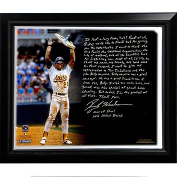Rickey Henderson Facsimile Stolen Base Record Story Stretched Framed 22x26 Canvas