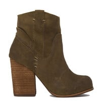 Jeffrey Campbell Showdown Taupe Oiled Suede Heeled Booties