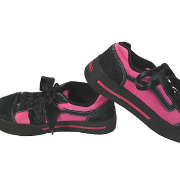 Vintage Platform Sneakers Vintage Vans Sneakers Black and Pink Sneakers Skate Board Sneakers Pink Tennis Shoes