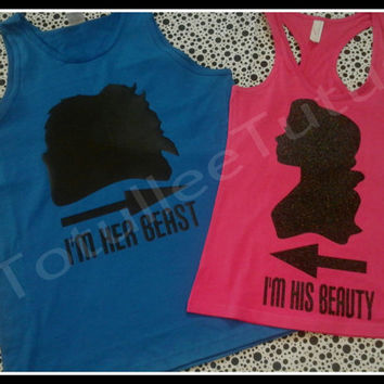 Disney Inspired Beauty N Beast Couples TShirt Together Since, Sparkly Beauty