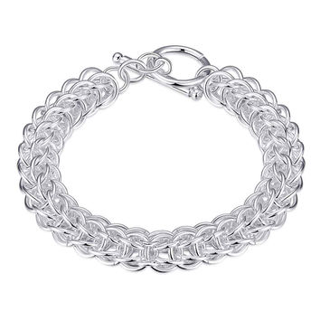 silver plated jewelry bracelet fine circle links bracelet 16 MP