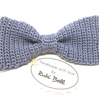 Bow Tie - crocheted bow tie - grey bow tie - grooms bow tie - bow ties for men - gray crocheted tie - wool bow tie