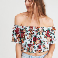 AE OFF-THE-SHOULDER PRINTED RUFFLE TOP, Aqua