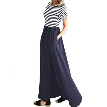 Women's Striped Scoop Neck Short Sleeve Patchwork Maxi Dress Female Plus Size Pockets Maxi Long Dress Striped Summer Sundress