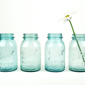 Antique Mason Blue Ball Canning Jar Collection Set of 4 / Aqua Glass