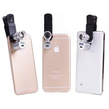 60X Optical Zoom LED Cellphone Microscope Magnifier Camera Micro Mobile Phone Lens For iphone 7 6 5 4 60X microscope for samsung