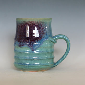 Pottery Coffee Mug, 16 oz, unique coffee mug, ceramic cup, handthrown mug, stoneware mug, wheel thrown pottery mug, ceramics and pottery