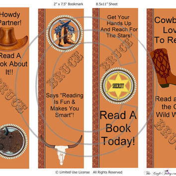Personalized Custom Bookmarks Cowboy Western Party Favor Bookmarks Stocking Stuffers Free Shipping!
