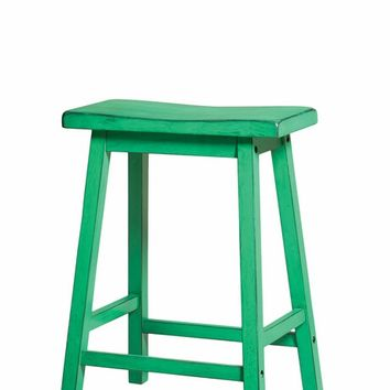 Set of 2 gaucho collection antique green finish wood counter height farmhouse style bar stools