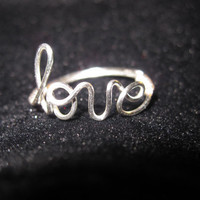 Silver Love Ring Wire Wrapped by jazziesandlilies on Etsy