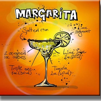 Margarita Cocktail Recipe Drink Picture on Stretched Canvas, Wall Art Decor, Ready to Hang!