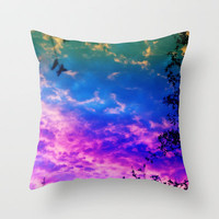 Rainbow Forest Throw Pillow by Beth - Paper Angels Photography