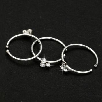 Wig Thin 3 Crystal Silver Diamante Nose Ring Hoop Stud-Sparkly Crystal Nose Ring Earrings M8694