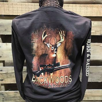 Backwoods Born & Raised Deer Rifle Hunt Unisex Long Sleeve Bright T Shirt