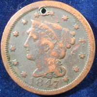 1847 Large Cent, Copper Penny, Large Cent Coin, Liberty Head Penny, Holed Coin, USA Large Cent, Large Penny Coin, Large Copper Coin