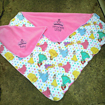 Disney Princess Inspired Fleece toddler-Kids with doll Blanket set -  tiara- Personalized