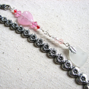 Hearts and Flower Bookmark - Pink and White Seaglass Bookmark, Beach Glass Valentine Gift, Crystal Book Mark