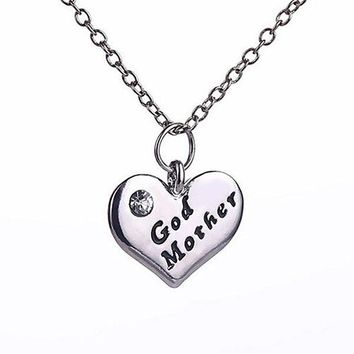 New Stlye Love Heart Pendant Rhinestone Godmother Necklace