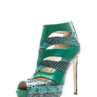 Lambskin and Ayres Bootie in Green